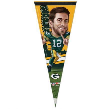 "Green Bay Packers Caricature Premium Pennant 12"" x 30"" Aaron Rodgers"