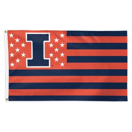 Illinois Fighting Illini / Stars and Stripes NCAA Flag - Deluxe 3' X 5'