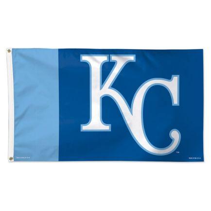 Kansas City Royals KC, V Stripes Flag - Deluxe 3' X 5'