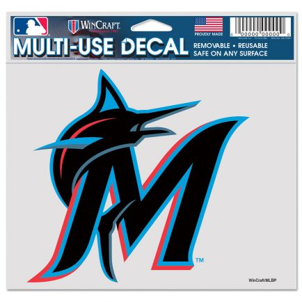 """Miami Marlins Multi-Use Decal -Clear Bckrgd 5"""" x 6"""""""