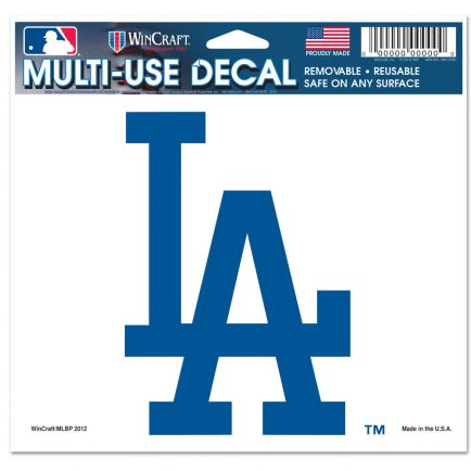 "Los Angeles Dodgers Multi-Use Decal -Clear Bckrgd 5"" x 6"""