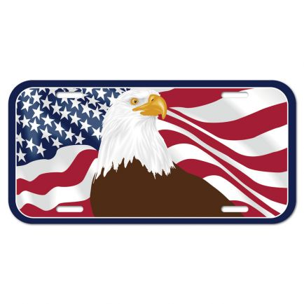Patriotic Eagle w/Flag License Plate