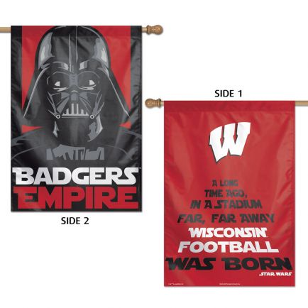 """Wisconsin Badgers / Star Wars Darth Vader Vertical Flag 2 Sided 28"""" x 40"""""""