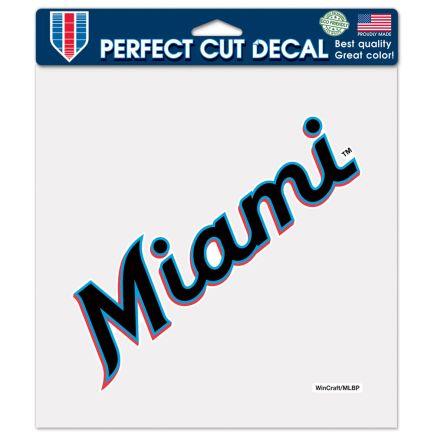 "Miami Marlins Wordmark Perfect Cut Color Decal 8"" x 8"""