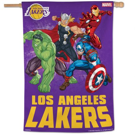 "Los Angeles Lakers / Marvel (c) 2021 MARVEL Vertical Flag 28"" x 40"""