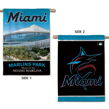 "Miami Marlins / Stadium MLB Vertical Flag 2 Sided 28"" x 40"""