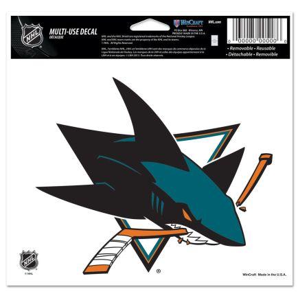 "San Jose Sharks Multi-Use Decal -Clear Bckrgd 5"" x 6"""