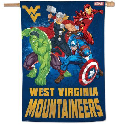 "West Virginia Mountaineers / Marvel (c) 2021 MARVEL Vertical Flag 28"" x 40"""