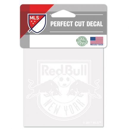 """New York Red Bulls Perfect Cut White Decal 4"""" x 4"""""""