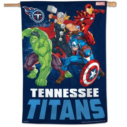 "Tennessee Titans / Marvel (c) 2021 MARVEL Vertical Flag 28"" x 40"""