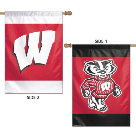 """Wisconsin Badgers Vertical Flag 2 Sided 28"""" x 40"""""""