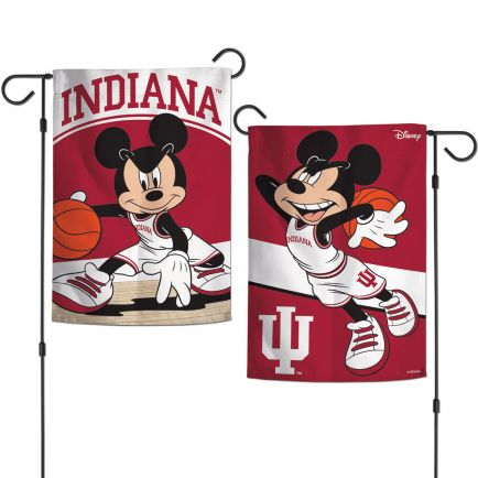 "Indiana Hoosiers / Disney MICKEY MOUSE BASKETBALL Garden Flags 2 sided 12.5"" x 18"""
