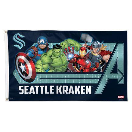 Seattle Kraken / Marvel (c) 2021 MARVEL Flag - Deluxe 3' X 5'