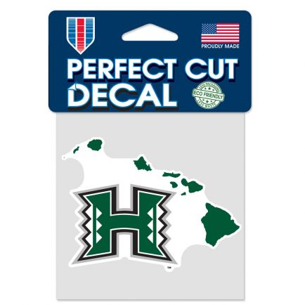 """Hawaii Warriors STATE SHAPE Perfect Cut Color Decal 4"""" x 4"""""""
