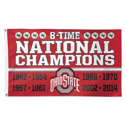 Ohio State Buckeyes 8-TIME NATIONAL CHAMPIONS Flag - Deluxe 3' X 5'