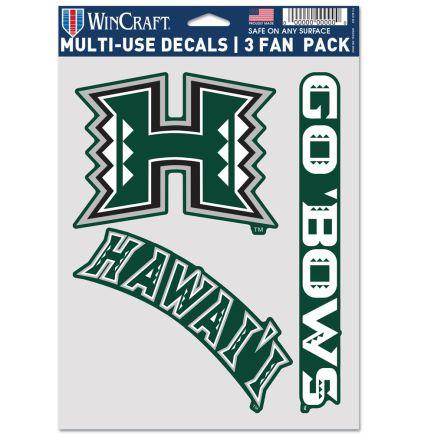 """Hawaii Warriors Multi Use - 3 Fan Pack 5.5"""" x 7.75"""""""