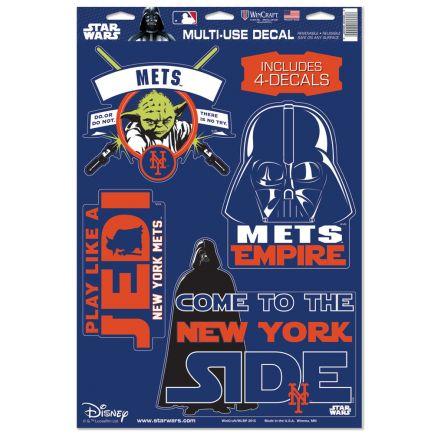 "New York Mets / Star Wars Darth Vader & Yoda Multi-Use Decal 11"" x 17"""