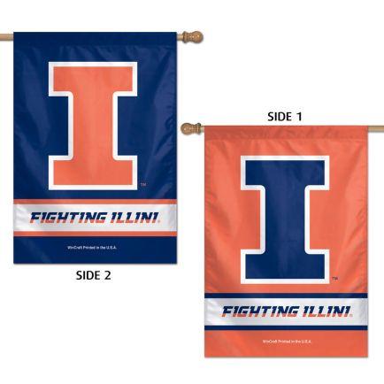 "Illinois Fighting Illini Vertical Flag 2 Sided 28"" x 40"""
