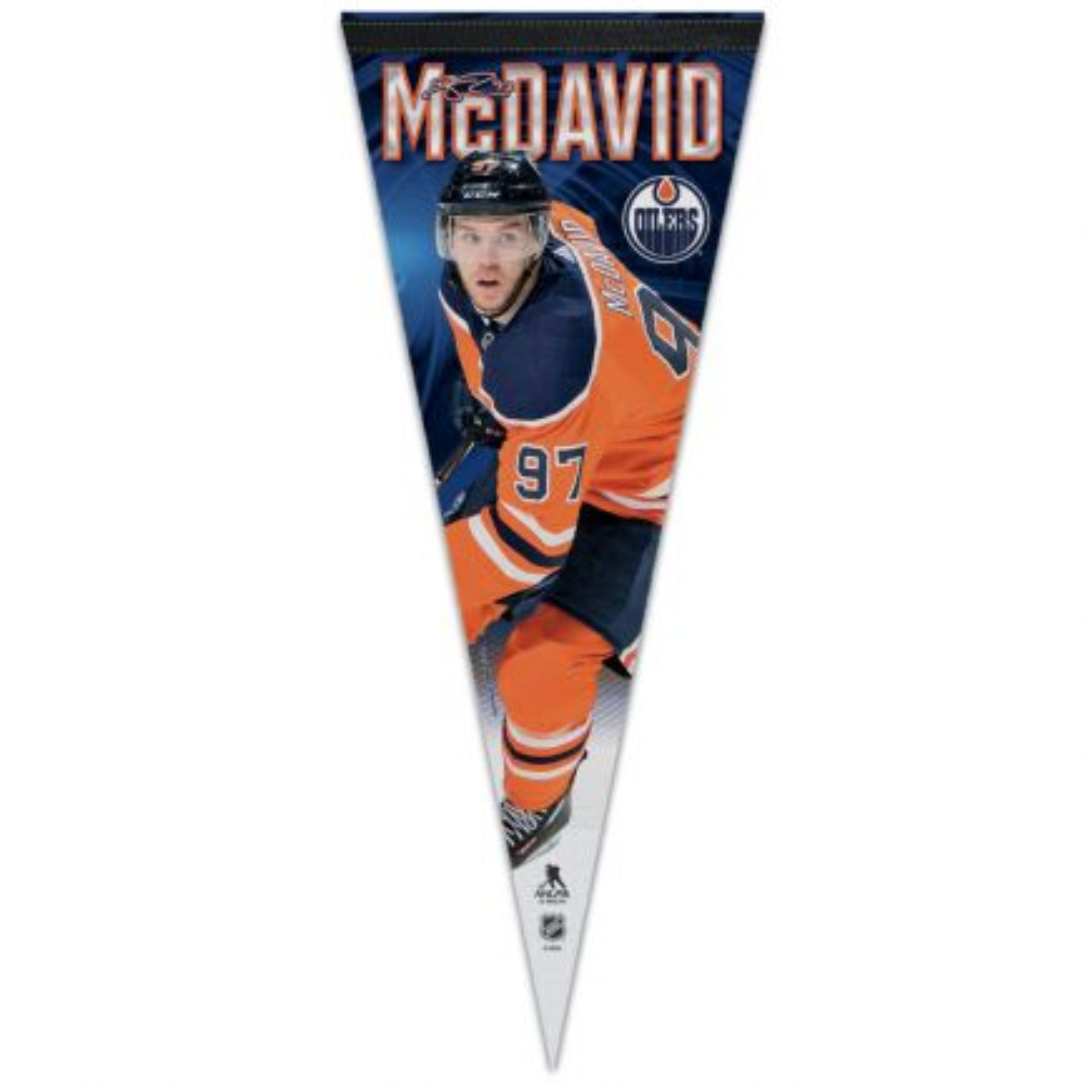 """Edmonton Oilers Premium Pennant 12"""" x 30"""" Connor McDavid"""