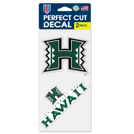 """Hawaii Warriors Perfect Cut Decal set of two 4""""x4"""""""