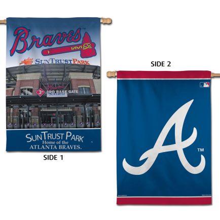 "Atlanta Braves / Stadium MLB STADIUM Vertical Flag 2 Sided 28"" x 40"""