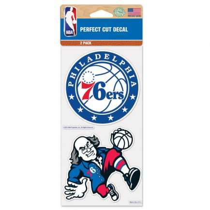 """Philadelphia 76ers Perfect Cut Decal set of two 4""""x4"""""""