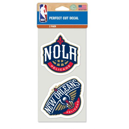 """New Orleans Pelicans Perfect Cut Decal set of two 4""""x4"""""""