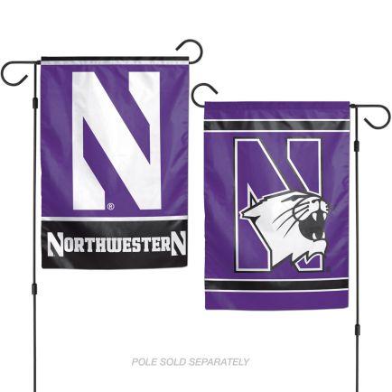 """Northwestern Wildcats Garden Flags 2 sided 12.5"""" x 18"""""""