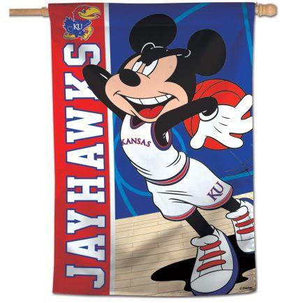 "Kansas Jayhawks / Disney MICKEY BASKETBALL Vertical Flag 28"" x 40"""