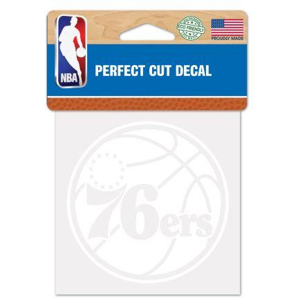 "Philadelphia 76ers Perfect Cut White Decal 4"" x 4"""