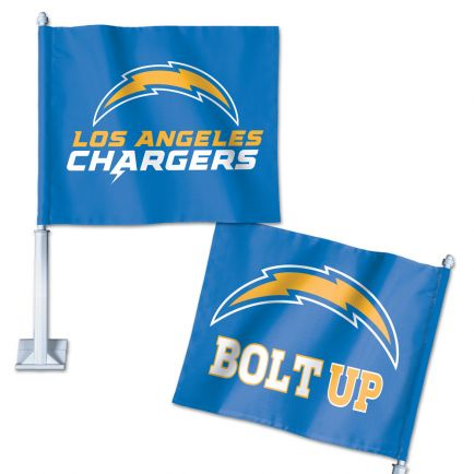 "Los Angeles Chargers Slogan Car Flag 11.75"" x 14"""