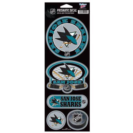 """San Jose Sharks Prismatic Decal 4"""" x 11"""""""