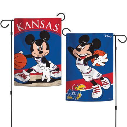 "Kansas Jayhawks / Disney MICKEY BASKETBALL Garden Flags 2 sided 12.5"" x 18"""