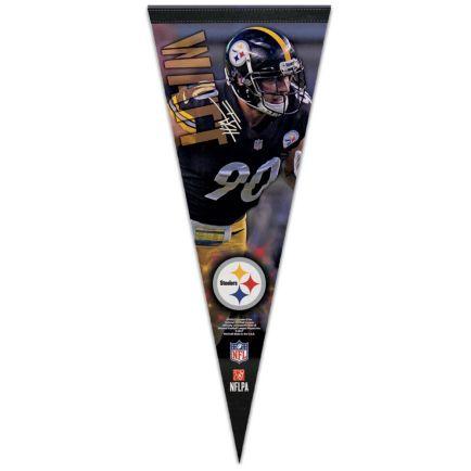 "Pittsburgh Steelers Premium Pennant 12"" x 30"" T.J. Watt"