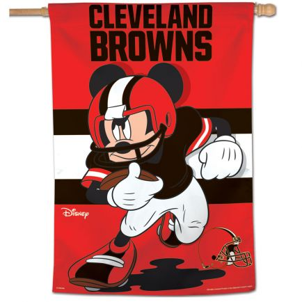 """Cleveland Browns / Disney Mickey Mouse Vertical Flag 28"""" x 40"""""""