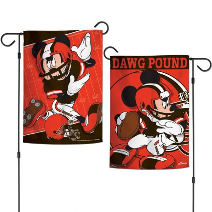 """Cleveland Browns / Disney Mickey Mouse Garden Flags 2 sided 12.5"""" x 18"""""""