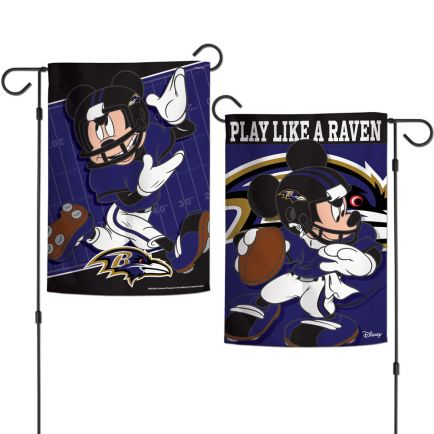 """Baltimore Ravens / Disney Mickey Mouse Garden Flags 2 sided 12.5"""" x 18"""""""