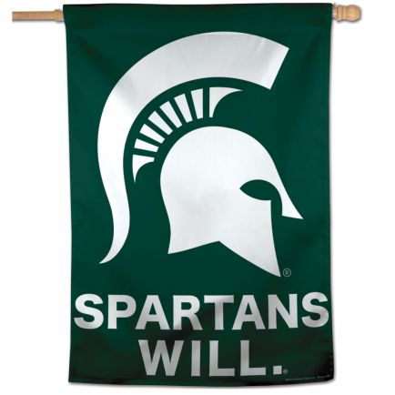"""Michigan State Spartans SPARTANS WILL Vertical Flag 28"""" x 40"""""""