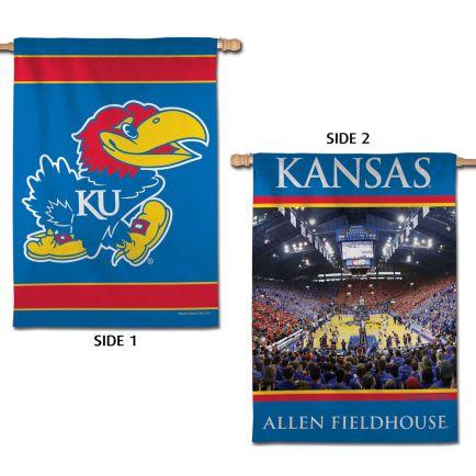 "Kansas Jayhawks ALLEN FIELDHOUSE Vertical Flag 2 Sided 28"" x 40"""
