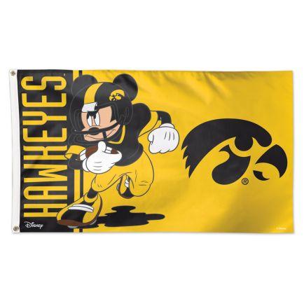 Iowa Hawkeyes / Disney MICKEY MOUSE FOOTBALL Flag - Deluxe 3' X 5'