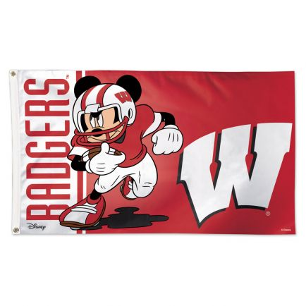 Wisconsin Badgers / Disney MICKEY MOUSE FOOTBALL Flag - Deluxe 3' X 5'