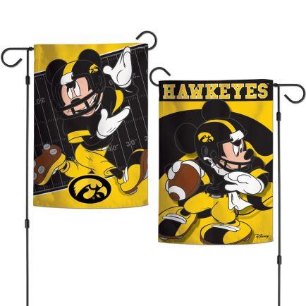 "Iowa Hawkeyes / Disney MICKEY MOUSE FOOTBALL Garden Flags 2 sided 12.5"" x 18"""