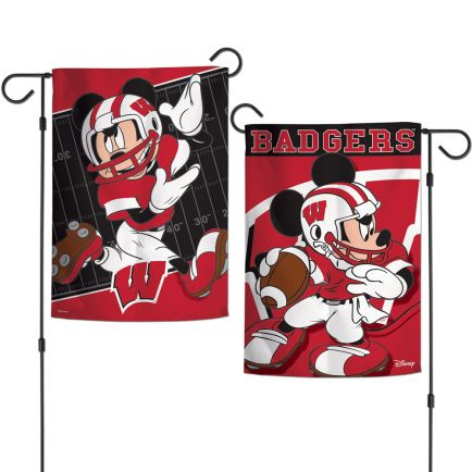"""Wisconsin Badgers / Disney MICKEY MOUSE FOOTBALL Garden Flags 2 sided 12.5"""" x 18"""""""