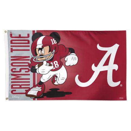Alabama Crimson Tide / Disney MICKEY MOUSE FOOTBALL Flag - Deluxe 3' X 5'