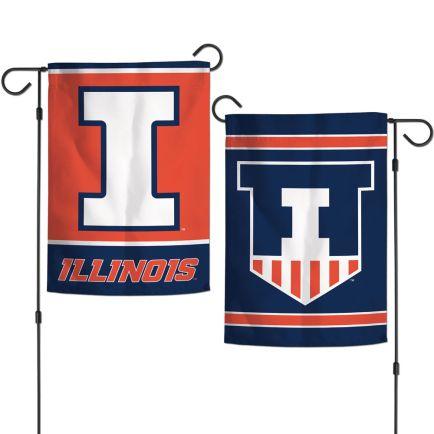 """Illinois Fighting Illini Garden Flags 2 sided 12.5"""" x 18"""""""