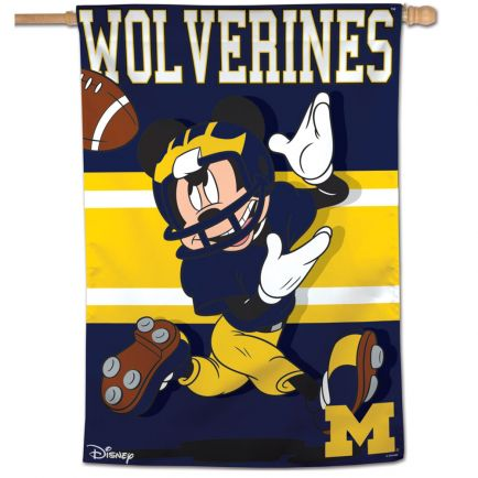 """Michigan Wolverines / Disney MICKEY MOUSE Vertical Flag 28"""" x 40"""""""
