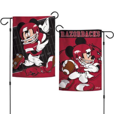 "Arkansas Razorbacks / Disney MICKEY MOUSE Garden Flags 2 sided 12.5"" x 18"""