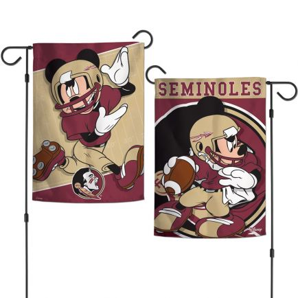 """Florida State Seminoles / Disney MICKEY MOUSE Garden Flags 2 sided 12.5"""" x 18"""""""