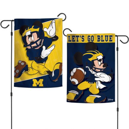 """Michigan Wolverines / Disney mickey mouse Garden Flags 2 sided 12.5"""" x 18"""""""