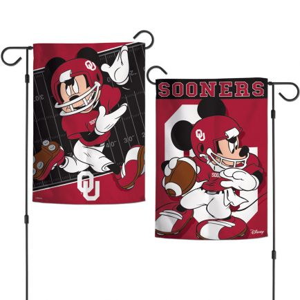 "Oklahoma Sooners / Disney MICKEY MOUSE Garden Flags 2 sided 12.5"" x 18"""